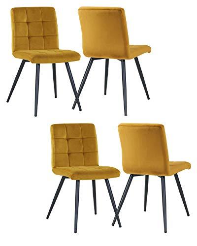 4er Set Esszimmerstuhl aus Stoff Samt Farbauswahl Stuhl Retro Design Polsterstuhl mit Rückenlehne Metallbeine Duhome 8043B, Farbe:Gelb, Material:Samt