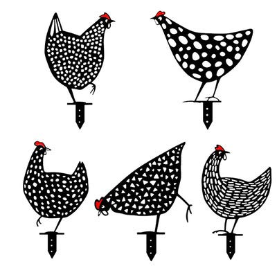 Metal Rooster Hen Decor Chicken Yard Art Rooster Stake Floor Decoration Ornament,Hollow Out Animal Shape Decor for Outdoor-for Lawns Gardens Sidewalk Backyards (5 PCS)