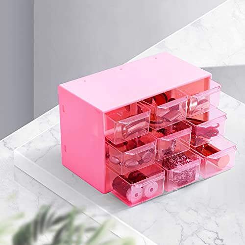 Xnuoyo 9 Griglie Scatola Portaoggetti Antipolvere, Mini cassettiera in plastica Trasparente con 9...