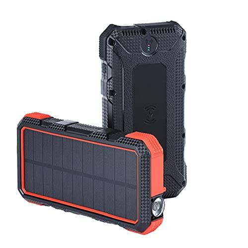 ZXD Banco de energía Solar inalámbrico 20000mAh Carga rápida 18W Carga rápida inalámbrica 10W Fuente de alimentación móvil Resistente,Naranja