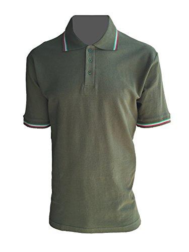 ALGI Polo Maniche Corte con Bordo Tricolore Verde Militare (XL)