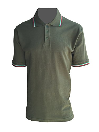ALGI Polo Maniche Corte con Bordo Tricolore Verde Militare (L)
