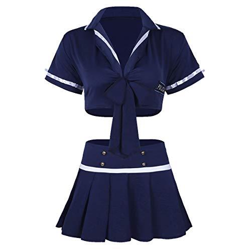 IEFIEL Lencera Ertica Mujer Sexy Picardas Cuello V Conjuntos de Policas Uniforme de Azafata Disfraz de Animadora Crop Top Manga Corta Mini Falda Clubwear Azul Oscuro Talla nica