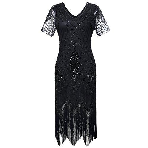 JaosWish Donne Vestito 1920s Gatsby - Abito Anni 20 Donna Flapper Dress Charleston per Festa in Costume