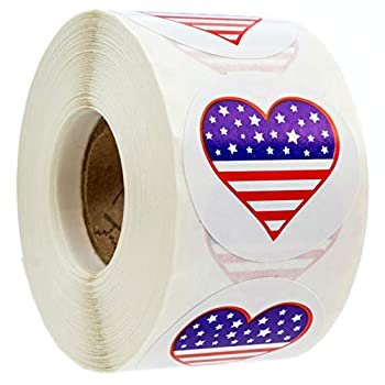 SBLABELS 500 American Flag Heart Design Stickers  Perforated  / 1.5  Circle 4th of July Stickers/Patriotic Stickers