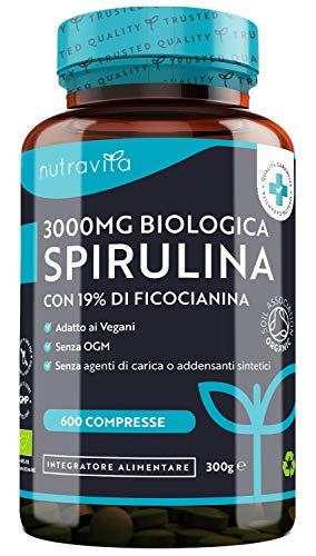 Spirulina Biologica 3000 mg con Ficocianina Grezza 19{f4de3cd06f1a7cfbbcb9e4c69e1afa593b9d9b6db83f274d66c5055a9f1655c8} - 600 Compresse Vegane - 500mg per Compressa - Prodotto Biologico - Prodotto nel Regno Unito da Nutravita