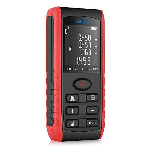 Télémètre laser 40m InLife Mesure laser portable avec écart maximum 2mm, Multimètre Numérique,...