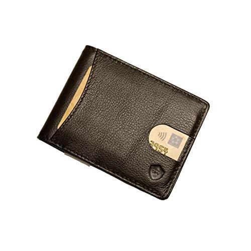 SECUREFY SECUREFY® fold - TÜV zertifiziertes RFID Slim Wallet - Kreditkartenetui aus hochwertigem Leder mit Geldklammer für bis zu 10 Karten - Nappa Leder - Braun