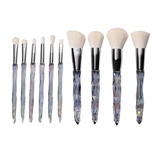 YGB Ensemble de pinceaux de Maquillage Professionnel 10 pinceaux de Maquillage en Cristal de Diamant Transparent Diamant dégradé Verre poignée en Plastique Brosse Fondation