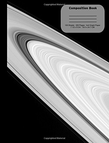 Rings of Saturn Blank Composition Notebook, 4x4 Quad Ruled Graph Paper: 100 Sheets / 200 Pages, 9-3/4 X 7-1/2