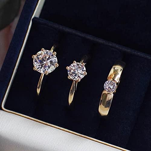 YANGYUE Juego de Anillos de Diamantes Cz de 1 Quilates para Mujeres y Hombres Anillos deCompromisoS925 Juego de alianzas de Boda de Plata