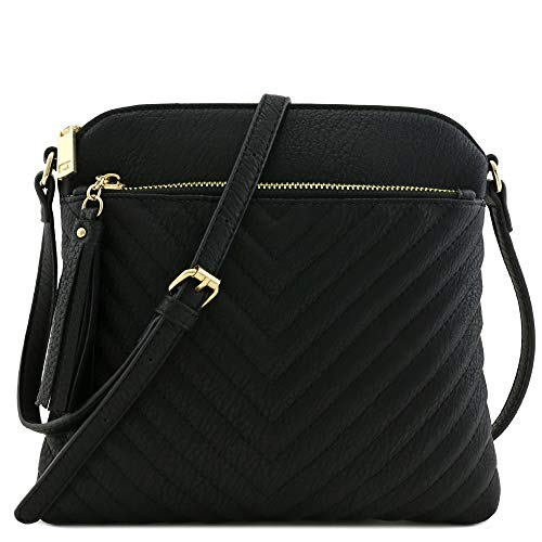 "9.5"" (W) x 8.5"" (H) x 1"" (D) Zipper closure Adjustable shoulder strap with 20.5"" (min) to 23.5"" (max) drop Faux leather & gold tone hardware 1 zipper pocket & 1 slip pocket inside"