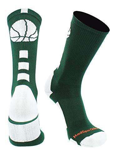 MadSportsStuff Basketball Logo Athletic Crew Socks, Medium - Dark Green/White