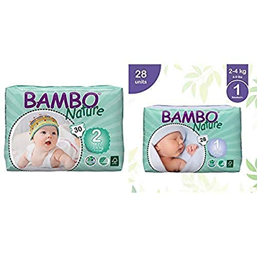 Bambo Nature Eco Friendly Baby Diapers Classic for Sensitive Skin, Size 2 (7-13 lbs), 30 Count and Bambo Nature Eco Friendly Baby Diapers Classic for Sensitive Skin, Size 1 (4-9 lbs), 28 Count