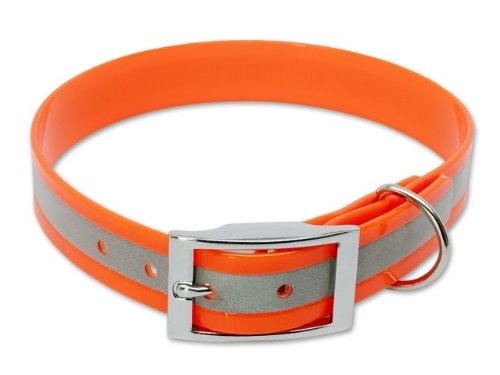 Mystique® Biothane Halsband Deluxe Hundehalsband 35-43cm / 25mm reflex orange
