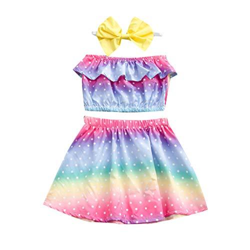 Kleinkind Baby Mädchen ärmellose Tank Tok Regenbogen Farbe Tops + Rock Outfits Set