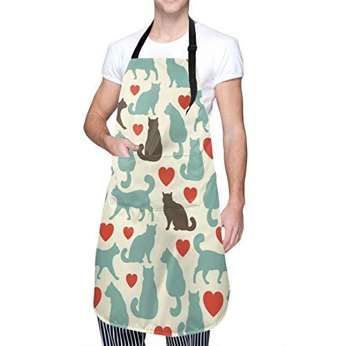 Delantal de gato, diseño con corazones felices caminando, gatitos domésticos, animales domésticos, babero de cocina unisex con cuello ajustable para cocinar jardinería, tamaño adulto, color turquesa