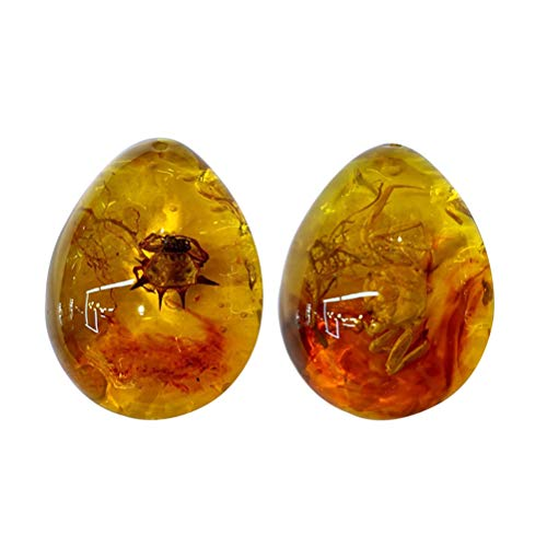 VOSAREA Ámbar fósil con insectos, piedras preciosas ámbar, piedra de mano, colección ovalada, colgante 2 unidades