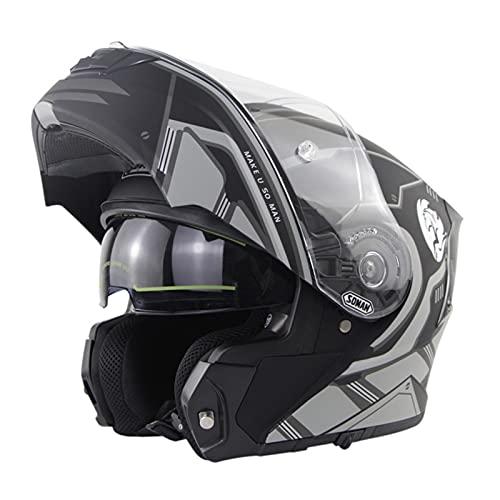 Cascos Modulares De Moto Mujer Hombre DOT ECE Homologado Cascos Abiertos De Moto Con Doble Visera Lente Grande Cascos Integrales De Moto Ventilado Casco Ligero Moto Silver Gray 1,L