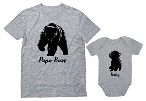 Baby & Papa Bear Men's T-Shirt & Baby Bodysuit Outfit Father & Son Matching Set Dad Gray X-Large/Baby Gray 12M (6-12M)