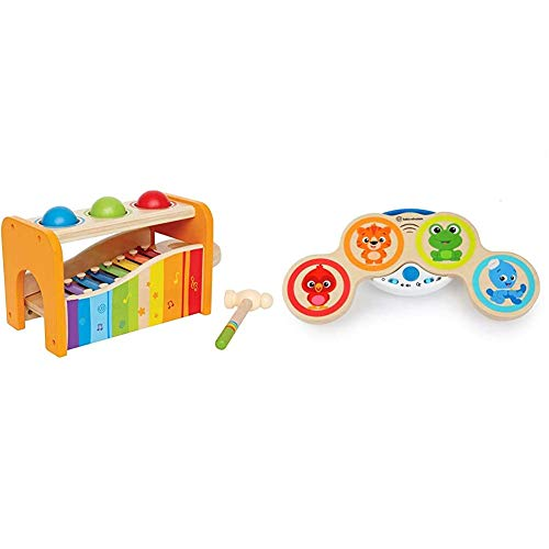 Hape E0305 Early Melodies Pound and Tap Bench & Baby Einstein Hape Magic Touch Drums Musical Wooden Toy