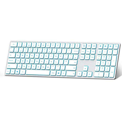 Jelly Comb Backlit Bluetooth Keyboard 7-Color Ultra Slim Rechargeable Multi-device Wireless Keyboard QWERTY UK Layout for Laptop/Computer with Windows Systems, Silver and White