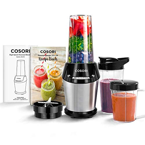 COSORI C011-PB Blender for Shakes and Smoothies, 10-Piece 800W, 2x 24oz Cups, 1x 12oz Cup, Silver