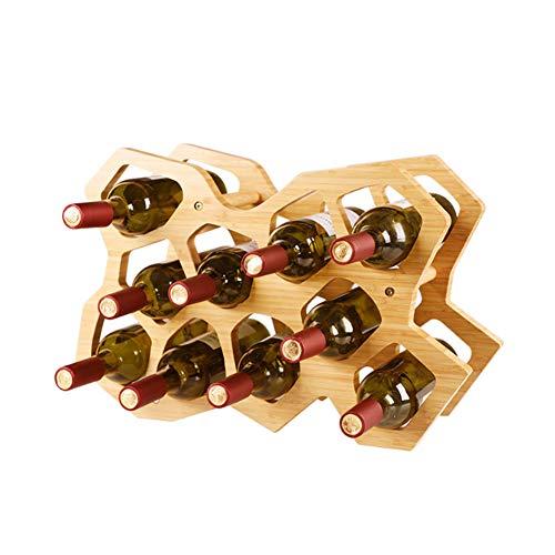 Vrijstaande Houten geometrische stijl Bamboo Wijnrek voor Alcohol Bottle Carrier Wine Holder, 10 fles wijn Rack