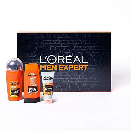 L'Oréal Paris Men Expert Kit Uomo Travel Set, con Crema Viso Idratante Hydra Energetic, Deodorante Roll-on Carbon Protect e Gel Doccia Hydra Energetic