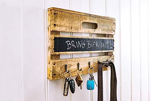 Schlüsselbrett aus Holz einer Obstkiste mit Tafellack für kleine Kreide-Nachrichten, für Schlüsselanhänger, Leinen, Handtücher, Handmade, Unikat, Upcycling