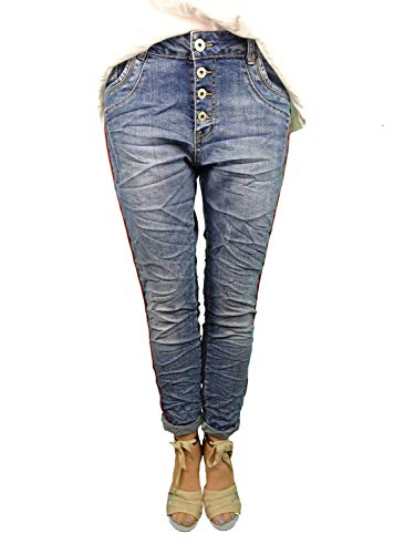 Karostar Stretch Baggy Boyfriend Jeans Nieten Seitenstreifen (4XL-48, Denim red Stripe)