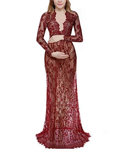 Naliha Maxi Vestidos para Mujeres Vestido De Maternidad De Encaje PuroMaxi Vestido De Fotografía Borgoña M