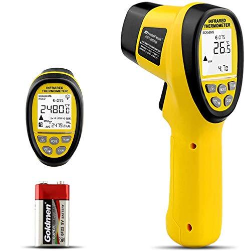 HoldPeak HP-985B Termómetro IR -58℉~2480 ℉ (-50℃~1360℃) Termómetro infrarrojo digital Pistola de temperatura de láser sin contacto dual para hornos de horno de fusión de forja Industria