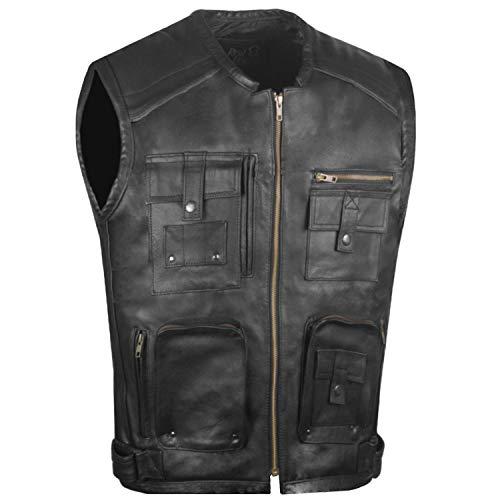 Men's Assault Motorcycle Leather Gun Pocket Biker Club Cruiser Armor Vest L