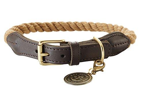 HUNTER List Hundehalsband, Tau, Leder, maritim, strapazierfähig, wetterfest, geschmeidig, 60 (L), beige