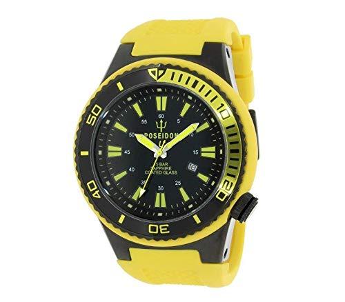POSEIDON by KIENZLE XL Uhr Analog Quarz 15 Bar Datum gelb-schwarz mit Silikon Armband UP00603