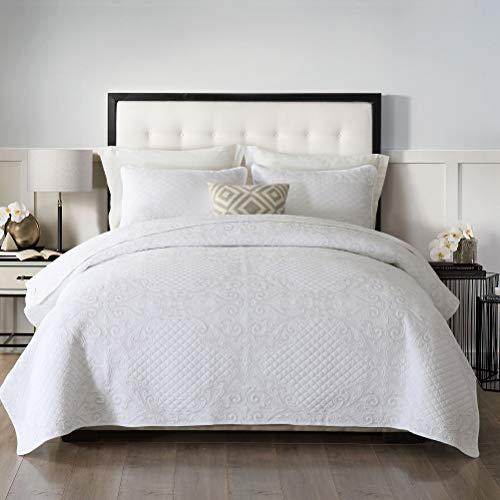 Brandream White Shabby Vintage Bedding Set Queen Size Quilt Set Cotton Lightweight Farmhouse Coverlet Set