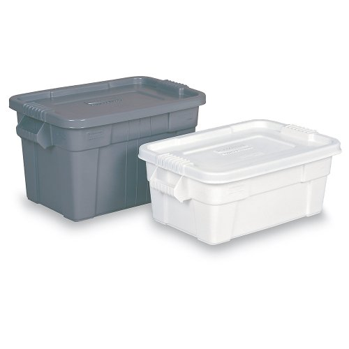 Find Discount Rubbermaid FG9S3000WHT Brute Tote - 27-7/8 x 17-3/8 x 10-11/16 - White - Lot of 6