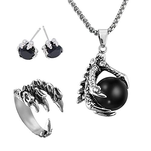 EQLEF Dragon Claw Jewellery Set, Gothic Dragon Claw necklace Alloy / Dragon Stud Earrings / Mens Dragon Ring Gift for Punk Lovers(3 pcs)