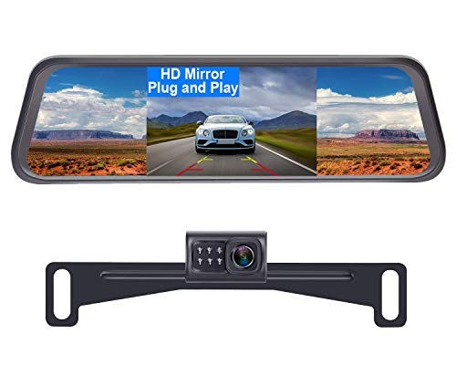 LeeKooLuu Reverse/Rear View Camera and Mirror Monitor Kit Only Wire Single Power Rear View/Full time View Optional for Car Truck with 7 LED Night Vision...