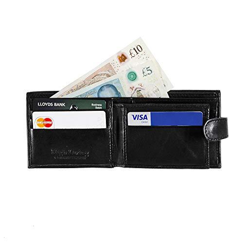 HIGHLIVING Mens Designer Genuine Real Soft Leather Wallet Credit Card Pocket (Black 1)