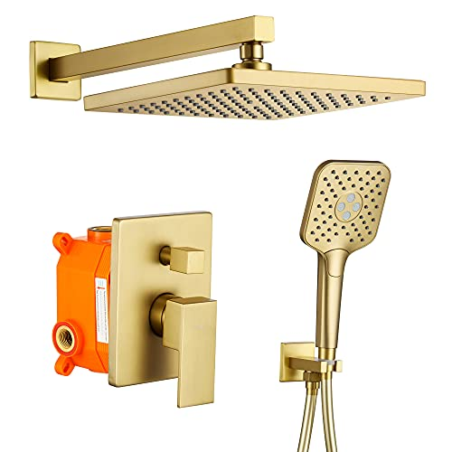 Shower System, Wall Mounted Shower Faucet Set for Bathroom with High Pressure 10' Rain Shower head and 3-Setting Handheld Shower Head Set, 2 Way Pressure Balance Shower Valve Kit, Brushed Gold