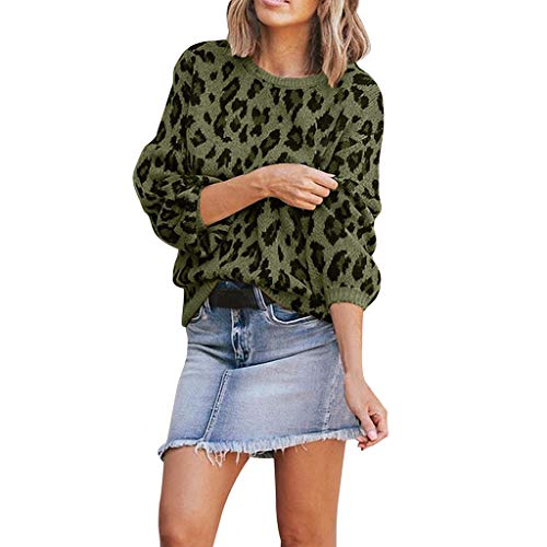 Maglione Elegante Donna Maglietta Pullover a Maniche Lunghe Leopardata da Donna alla Moda Maglietta Casual Borsa a Tracolla o-Collo in Maglia Casual/Verde,S