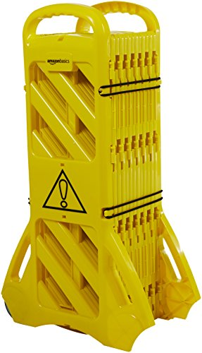 Amazon Basics Expandable Mobile Barricade Fence System, Yellow