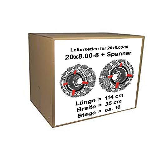 für Reifen 20x8.00-8 20x8.00-10 Schneeketten + Spanner für Rasentraktor Aufsitzmäher auch 20 x 8.00-8 20 x 8.00-10