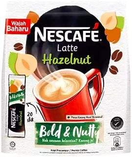 Malaysia Best Brand Nestle NESCAFE Premix Latte Hazelnut/Smooth Creamy Aromatic Nutty Flavor (20 sticks x 24g)