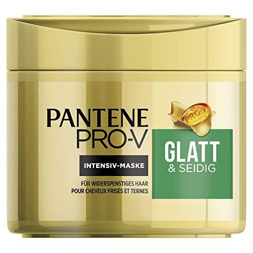 Pantene Pro-V Glatt & Seidig Intensiv-Maske für Widerspenstiges Haar, 300 ml, Haarpflege Glanz, Anti-Frizz, Anti Frizz, Haarkur, Haarmaske, Haare Kur, Haar Mask, Beauty, Gold