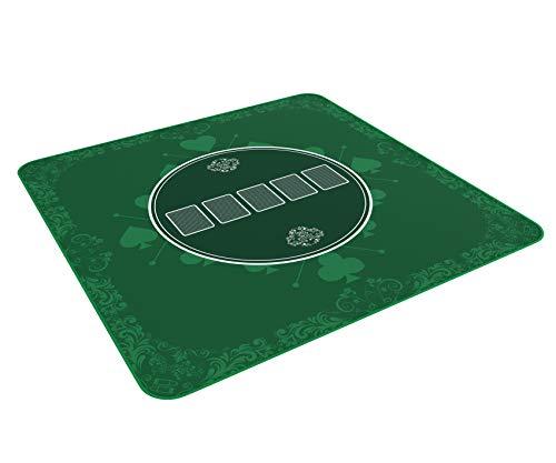 Tapis de poker Heads-Up vert en 80 x 80cm pour votre propre table de poker - Tissu de poker de luxe - tapis de poker - tapis de table de poker