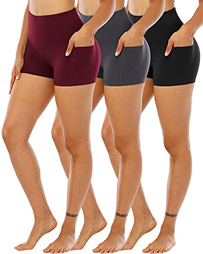 CHRLEISURE Spandex Yoga Shorts with Pockets for Women, High Waisted Workout Booty Shorts 3 Packs BlackGrayWine S