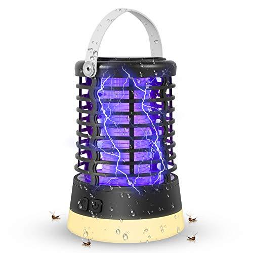ZOTO 3-in-1 Insektenvernichter Elektrisch, 3 Lichtmodi Mückenlampe mit SOS Lichter, IP67 Wasserdicht, 2200mAh Eingebaute Batterie Mückenkiller Campinglampe Indoor Outdoor mit Lederhaken